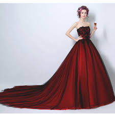 wine red wedding. Tube top Dual tone wine red wedding gown evening dress Womens