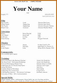 Examples Of Actors Resumes Beginner Actor Resume Template Lovely 3 4 Acting Resume