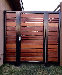vinyl fence with metal gate. Horizontal Wood Gate With Metal Frame Vinyl Fence