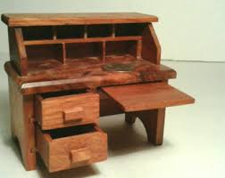miniature dollhouse furniture woodworking. handmade wooden dollhouse furniture desk drawers pull out opens vintage solid natural finish wood small miniature woodworking