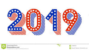 2019 Happy New Year Card Design. Vector American Style New Year ...