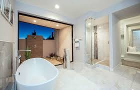 modern bathroom design pictures. Modern Master Bathroom With Marble Tile Window View From Bathtub Design Pictures