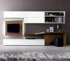 exciting wall unit with desk and tv entertainment