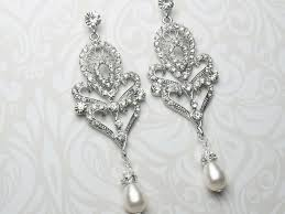 art deco style chandelier earrings art deco pearl drop earrings vintage statement earrings bridal earrings crystal art deco starlet