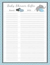 Free Printable Baby Shower Guest List Inspiration Baby Shower Gift List Template Diabetesmang