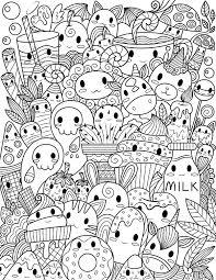 Find more kawaii coloring page. Printable Kawaii Doodle Adult Coloring Page