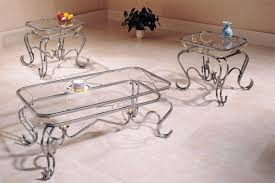 Three Piece Living Room Table Set 3 Piece Coffee Table Set Curved Silver Legs Glass Top
