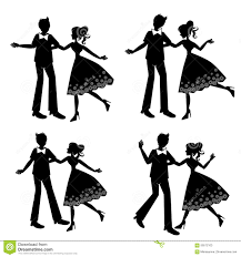 Silhouette Of Dancing Couple Set Stock Illustration Illustration