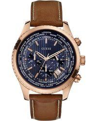 shop men s guess watches from 42 lyst guess men ́s international date chronograph brown leather strap watch lyst