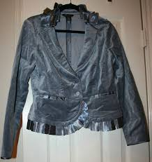 s l1600 s l1600 previous white house black market charcoal grey gray blazer jacket 6 pleated ribbon trim