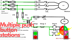 multiple push button stations three wire control multiple stations three wire control multiple stations circuit diagram start stop