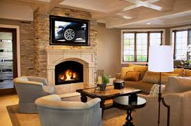 family room ideas with tv. Grey Velvet Accent Chairs And Brown Fabric Couch With Cushion Also Wall Mount Tv Hang On Stacked Stone Fireplace Family Room Ideas