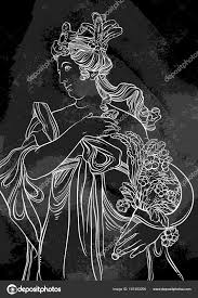 богиня древней греции рисованной красивые векторные иллюстрации на