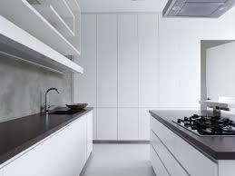 modern kitchen black and white. Kitchen:Trendy White Modern Kitchen With Dark Backsplash Also Pure Island Minimalist Black And