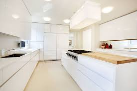 white modern kitchen with fridge and butcher block countertop