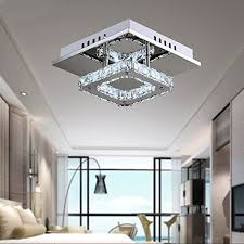 mini modern crystal chandelier square ceiling lamp for bedroom bathroom dining room 8 3x8 3in 12w