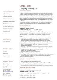 Resume Sample For Secretary Company Secretary Cv Sample Job Description And Activities Company
