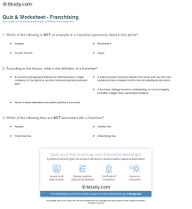 Example Of Franchise Quiz Worksheet Franchising Study Com