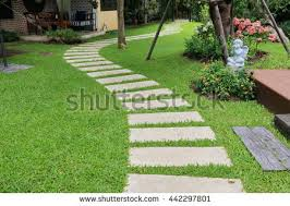 garden pathway. Landscaping In The Green Garden. Pathway Park,curve Walkway With Stone Tile On Garden