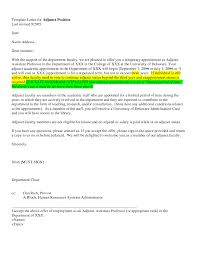 Adjunct Faculty Position Cover Letter Sample Lezincdc Com