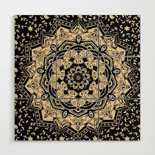 indian gold mandala wood wall art