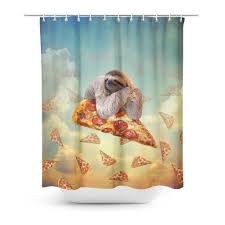 Sloth Pizza Shower Curtain Shelfies