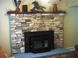 image of stone veneer fireplace diy