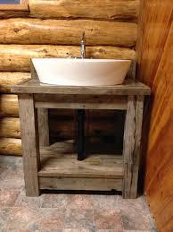 reclaimed bathroom furniture. Rustic Reclaimed Wood Open Shelf Vanity With White Porcelain Vessel Sink, Charming Bathroom Design Ideas: Bathroom, Furniture