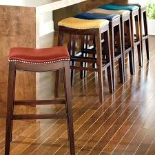backless leather bar stools brown