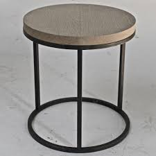 round black oak top side table