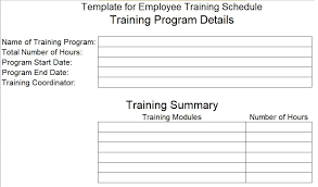 Training Programme Schedule Format Employee Training Schedule Template For Company