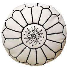 Black And White Pouf Moroccan Leather Pouffe White With Black Stitch Maison Maison