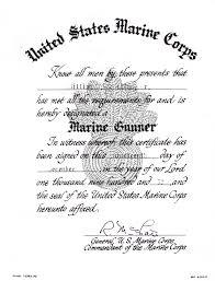 Marine Gunners Marine Gunner Certificate
