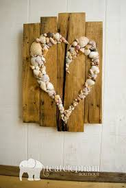 pallet art natural shell skewed heart wall hanging rustic shabby chic seaglass sharksteeth nautical seashore shells from honeymoon or special vacation on  on rock art wall hanging with 50