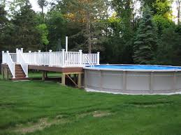 above ground pool with deck surround. Endearing Backyard Landscaping With Above Ground Swimming Pool : Beauteous Picture Of Design Deck Surround