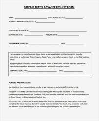 Travel Advance Form Template Myvacationplan Org