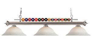 pool table light shark brushed nickel bar w pool 3 glass shades image