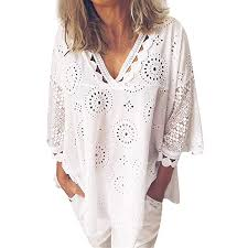 Wodceeke Womens Soft Cotton Linen Fashion Half Sleeve Hollow Out Lace Patchwork T Shirt Blouse Tops