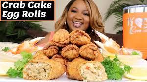 SEAFOOD MUKBANG , CRAB CAKE EGG ROLLS ...