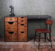 American country pine wood exports Europe and America Industrial personality iron wood furniture with a desk