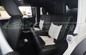 excellent jeep wrangler unlimited twotone black w white and synergy green stitching leather interior with wrangler jeep black