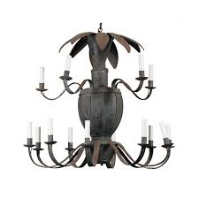 unusual french 14 light painted tole chandelier with scrolled arms and leaves
