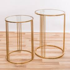 details about gold gilt leaf parisienne metal glass top round side coffee tables nest of 2