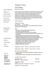 Art Teacher Resume Example Template Sample Teaching Design Job