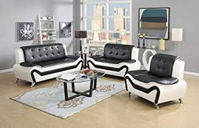 Black and white chairs living room Gray Us Pride Furniture Piece Modern Bonded Leather Sofa Set With Sofa Loveseat And West Elm Amazoncom Us Pride Furniture Piece Modern Bonded Leather Sofa