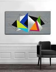 custom made geometric illumination 48x24 wood wall art metal wall art modern wall
