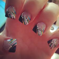 My New Nails Nails Acrylic Colorful Black Tip Glitter Love