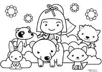 金太郎と動物達の塗り絵5月塗り絵素材のプチッチ