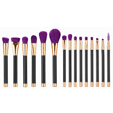 elailite 15pcs purple makeup brushes set make up brush tools cosmetic professional foundation brush kits blending pencil kabuki