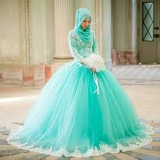 ball gown muslims green wedding dress 2016 high neck long sleeve